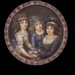François Dumont, trois jeunes femmes organisant un bouquet de fleurs, coll Tansey.