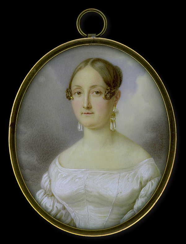 Gustav Nehrlich, Lady in White Dress in front of a Cloudy Sky, vers 1835,  coll. Tansey.