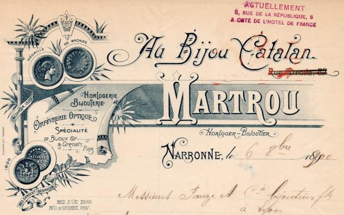 Martrou, horloger-bijoutier à Narbonne, Au bijou catalan.