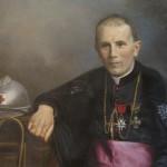Mgr de Llobet avec le casque des poilus, portrait peint, collection familiale.