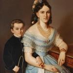 Portrait de Mme Pongracz et de son fils. vers 1840.