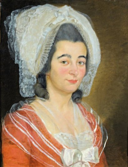 Attribué à Antoine Raspal , portrait de femme au bonnet de dentelle, vers 1770.