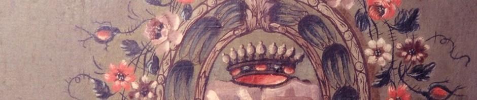 Motif de médaillon d'orfèvrerie, chaise à porteur, Roussillon, XVIIIe s.