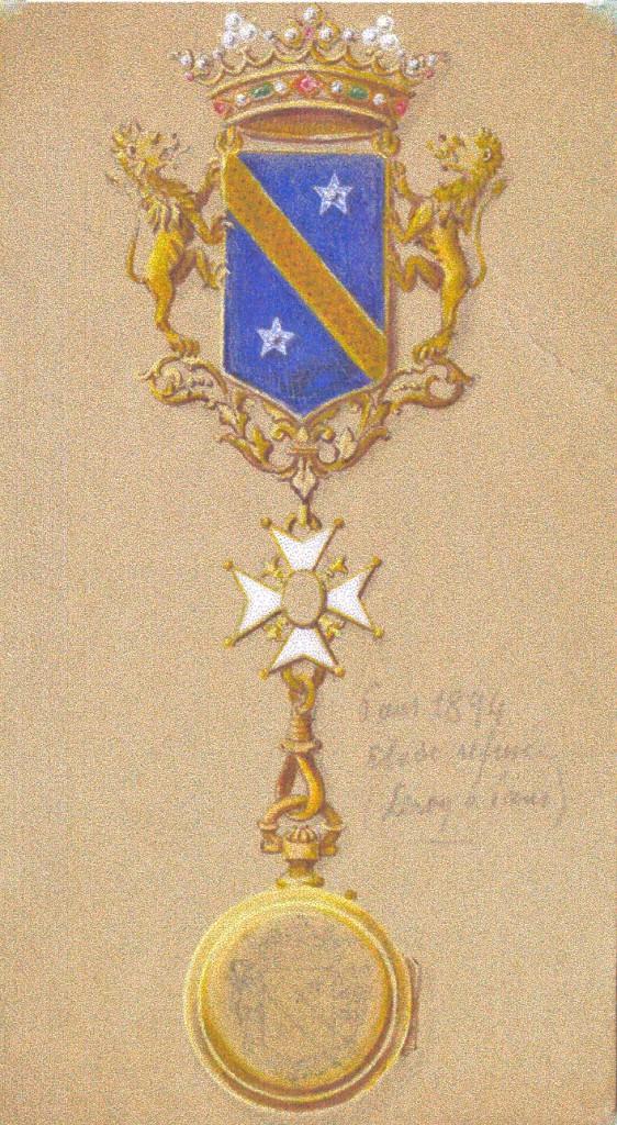 Projet de châtelaine et montre aux armes de la famille Ducup de Saint Paul.