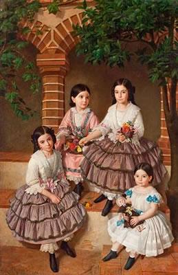 Retrato de las niñas de la familia Coronas (Joaquina, Mercedes, Rosa y Gertrudis)