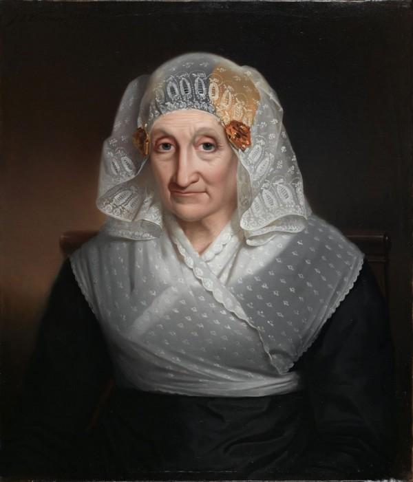 Jan Adam Kruseman, portrait de femme en coiffe et bijoux traditionnels des Pays-Bas