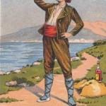 Catalan buvant à la régalade, banyuls Trilles, vers 1900.