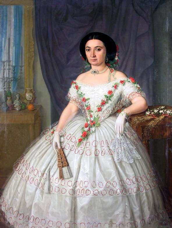 Misu Popp, portrait de femme en robe de bal, vers 1860.