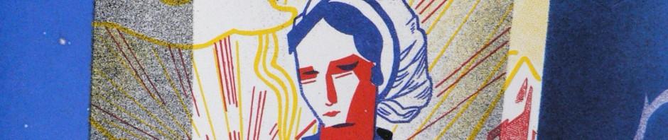 Catalane en coiffe du café Mizora, années 1950, tôle émaillée.