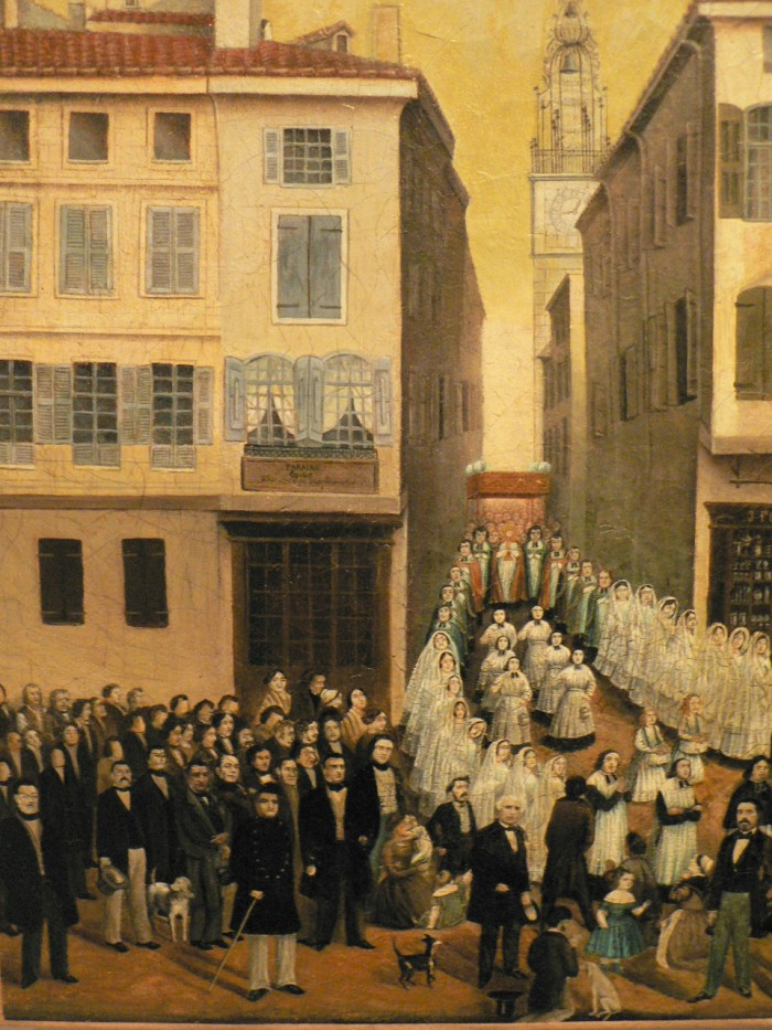 Grande procession dans Perpignan au milieu du XIXe s., Tableau conservé au Musée des ATP, Perpignan.