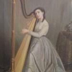 Portrait de Mariquita Miralles jouant de la harpe.