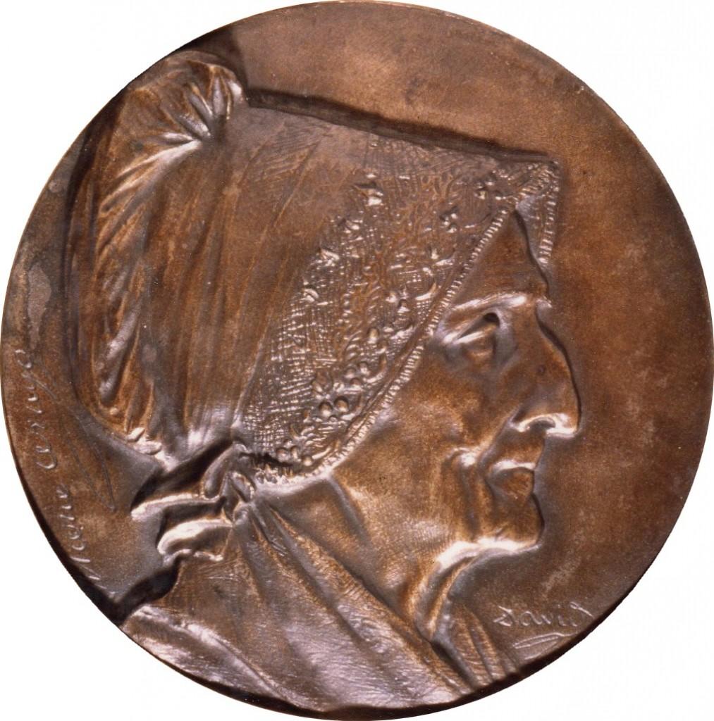 Dentelle bordant la coiffe de madame Arago, David d'Angers, coll. Musée Rigaud, Perpignan.