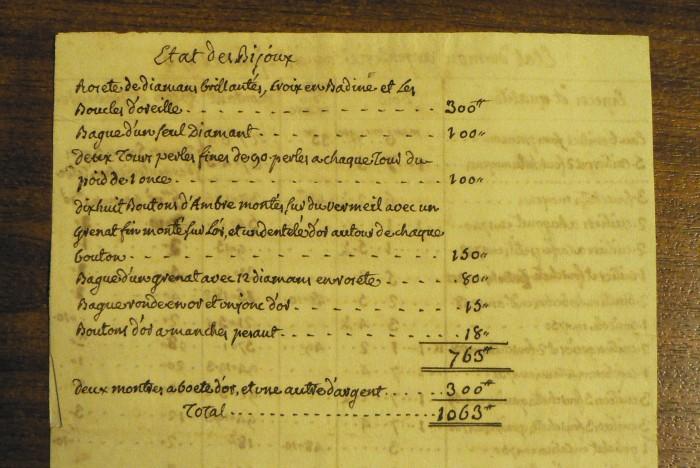 Etat des bijoux de la famille de Gonzalvo, Perpignan, 1761.