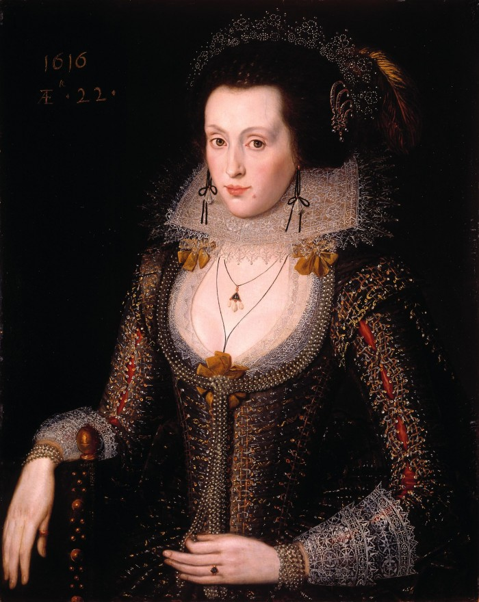 1616, portrait d'Elizabeth Poulett par Robert Peake, Tate Gallery, Londres.
