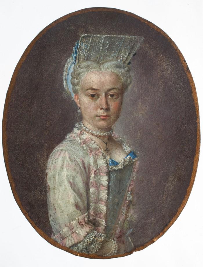 Portrait de jeune femme en coiffe à la Fontange.