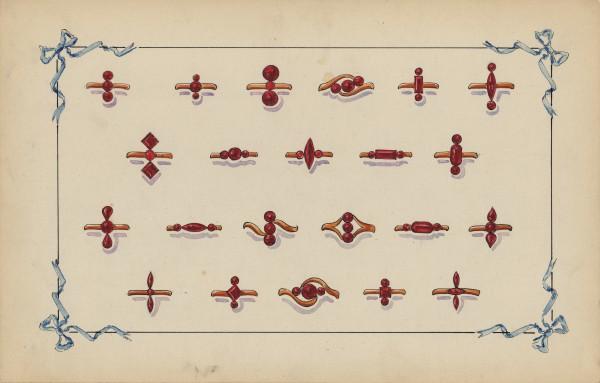 Bagues 1900 en Grenat de Perpignan, Gouache, collection particulière.