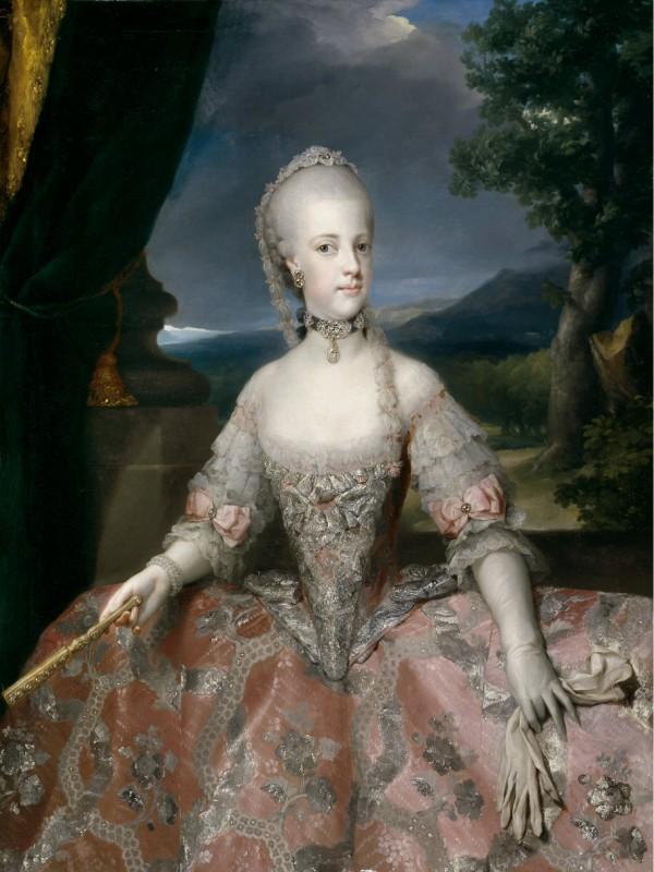 Portrait de Marie Caroline, reine de Naples, archiduchesse d'Autriche par Mengs, 1768.