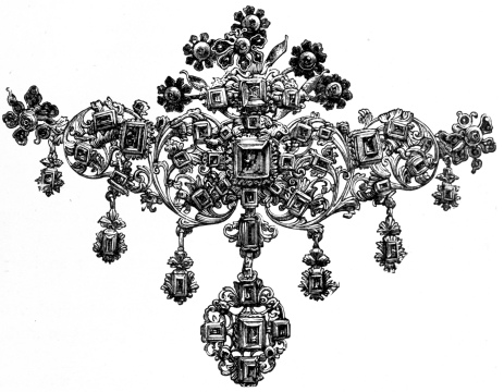 ORNEMENT DE CORSAGE serti d'émeraudes. ESPAGNOL, fin du 17e siècle. South Kensington Museum.