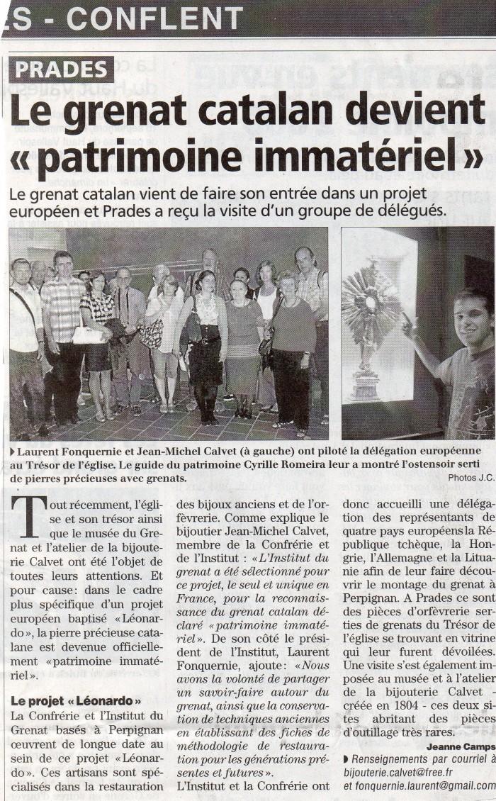 L'Indépendant les Pyrénées-Orientales, 30 sept.2012.