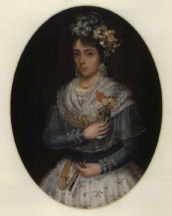 Portrait d'une jeune femme par José Campeche (Porto Rico, 1751-1809). Huile sur toile.