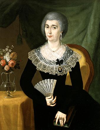 Portrait d'une femme en deuil , c. 1807, par José Campeche (Porto Rico, 1751-1809). Huile sur toile. 39 x 30 5/16 po, Collection de Marilynn et Carl Thoma