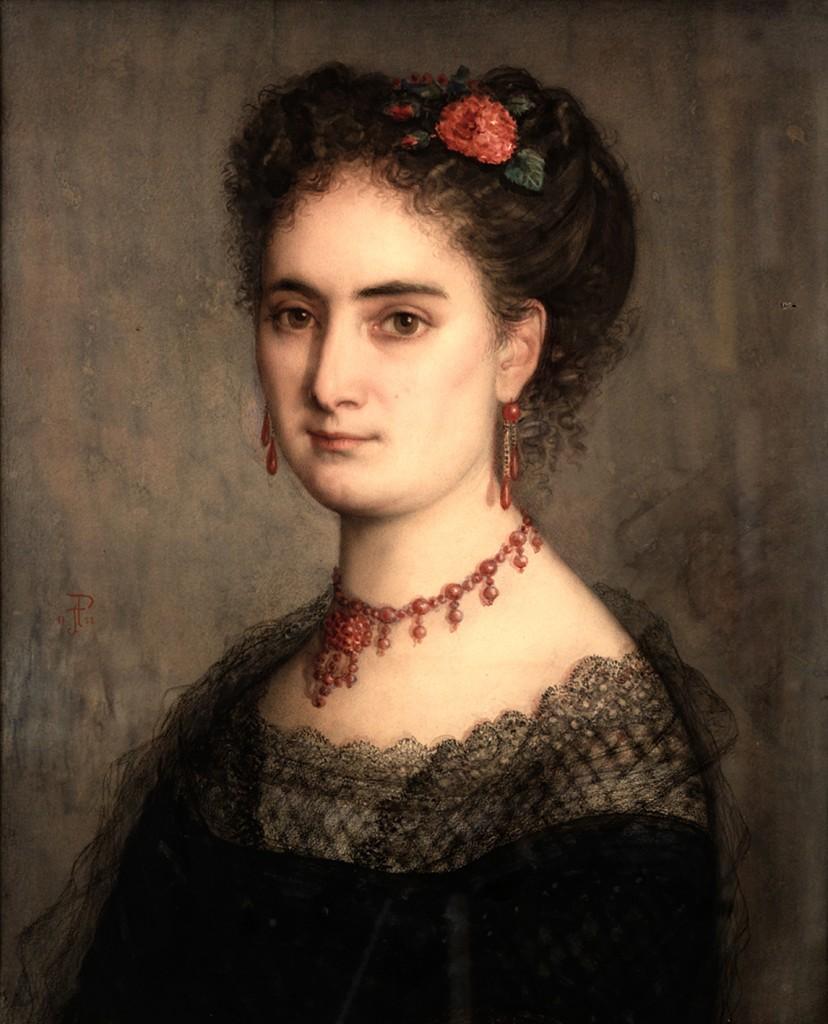 JOHN PHILLIP, portrait de jeune femme avec une parure de grenats