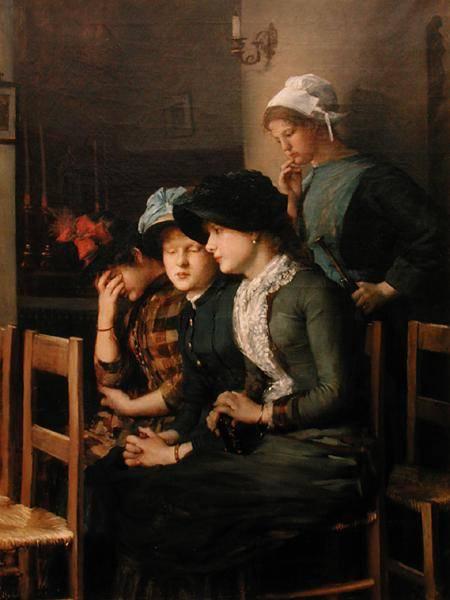 Petiet, Marie, épouse Dujardin-Beaumetz (1854-93), jeunes femmes à l'église, Musee Petiet, Limoux, France.