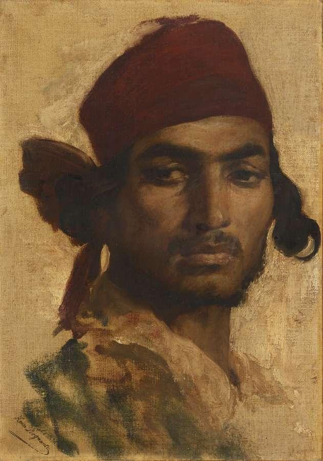 REGNAULT Henri (Paris 1843 - Buzenval 1871) Portrait d'un gitan, 1868.