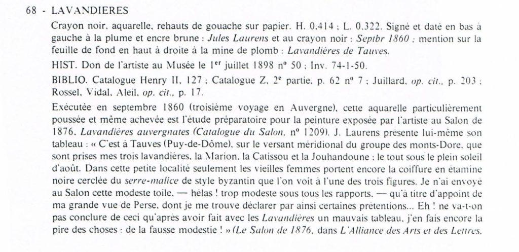 Catalogue de l'exposition qui fut consacrée à J Laurens au Musée Bargoin de Clermont-Ferrand, 1975.