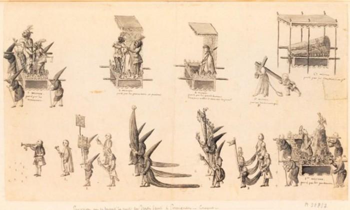 Procession de la Sanch en 1787, BNF, collection Destailleur.