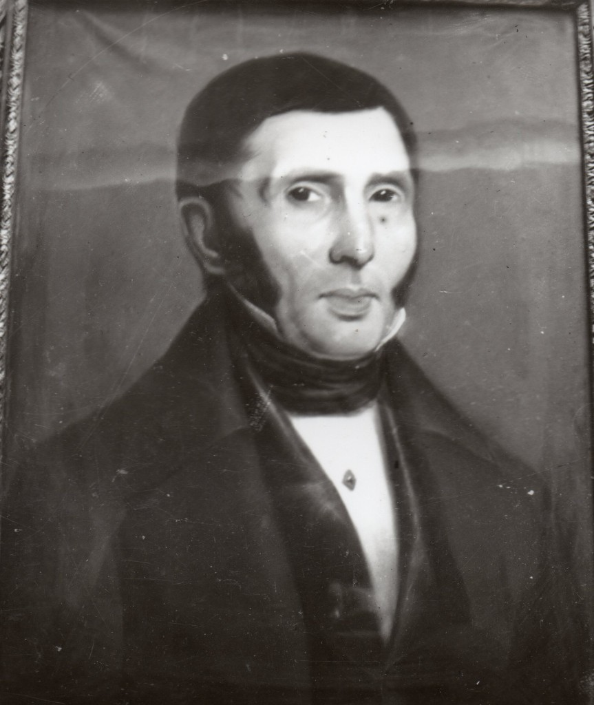 """Photographie ancienne d'un portrait d""""homme au pastel, Perpignan, vers 1840."""