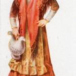 Costume roussillonnais, image publicitaire en forme de menu, biscuiterie Olibet.