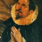 portrait de noble à la fraise, sur un panneau de l'église de Pia, fin 17eme