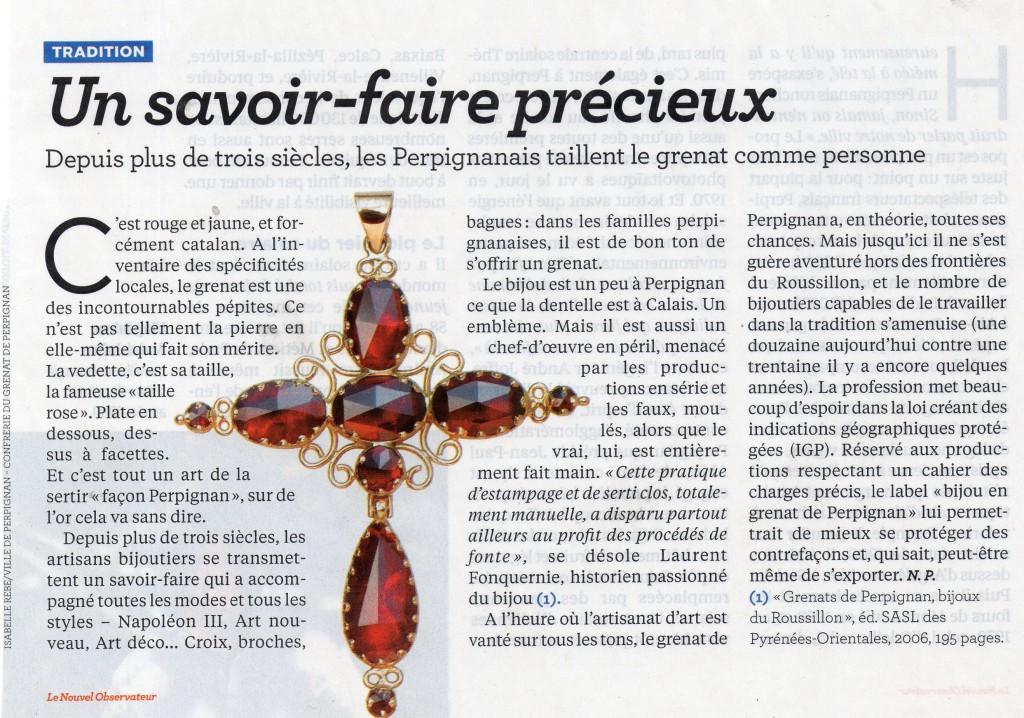 Le Nouvel Observateur et l'Indication Géographique du bijou en Grenat de Perpignan
