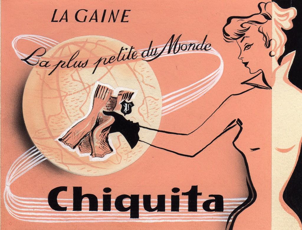 1953 Publicité de la gaine Chiquita réalisée par les ateliers I.C.A. à Paris.