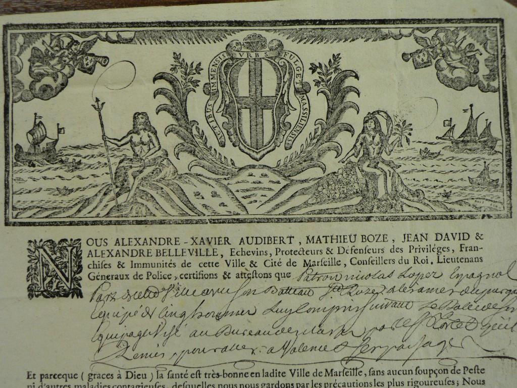 Document délivré par le Port de Marseille au bateau sainte Rose de Lima.