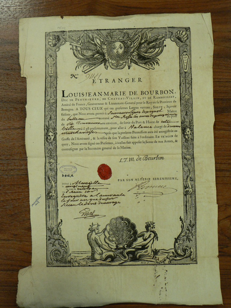 Certificat de sortie du Port de Marseille pour le vaisseau étranger Sainte Rose.