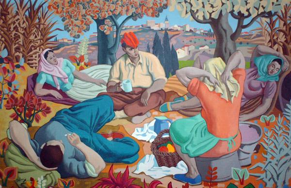 M.Delaris, les vendengeurs au repos, hst 185x120 cm, étude Halimi, Perpignan, juin 2007