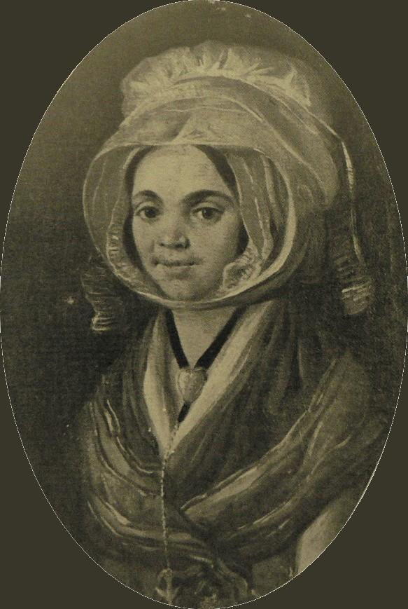 Portrait de femme en costume et bijoux languedociens.