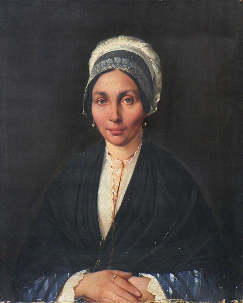 Portrait de femme en coiffe catalane, Perpignan, époque Louis XVIII.