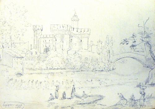 lavandières devant le Castillet sous Charles X
