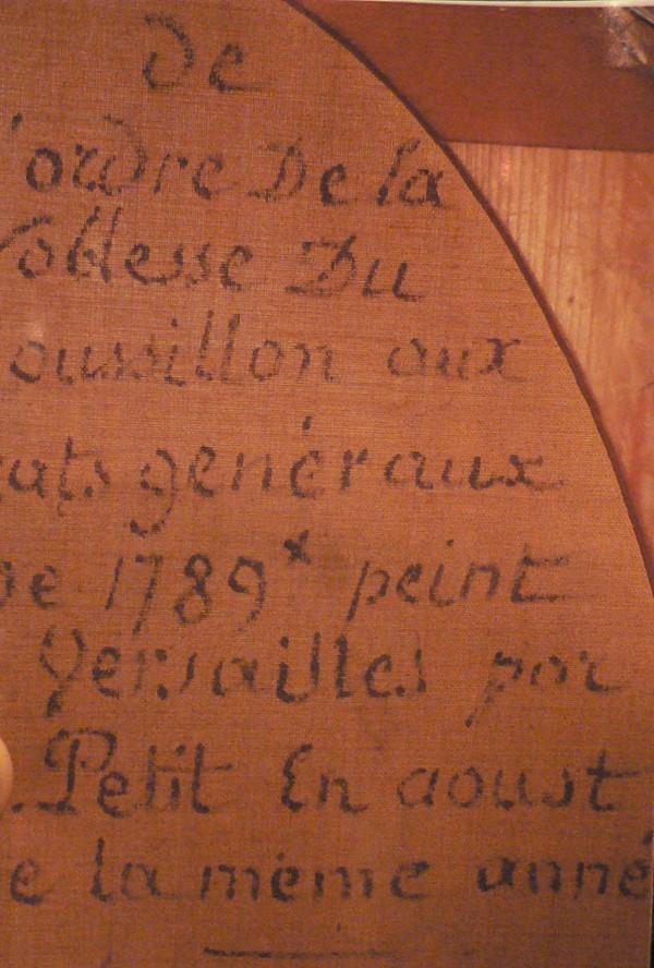 Détail de l'inscription au dos de la toile.