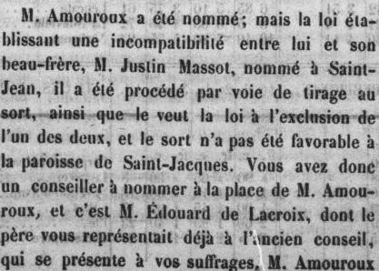 le Roussillon 1870  élections canton de St Jacques