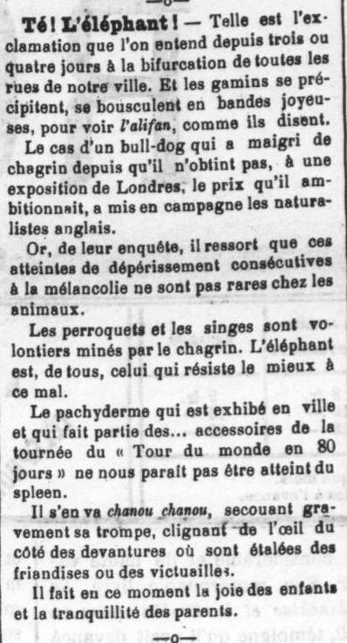 Le Roussillon 23 09 1905, éléphant à Perpignan