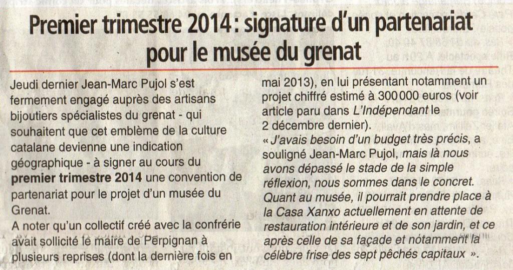 L'indépendant, samedi 14 décembre 2013.