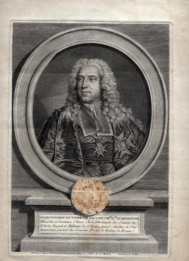 Hyacinthe RIGAUD, VOYER DE PAULMY, d'Argenson, burin vers 1763.