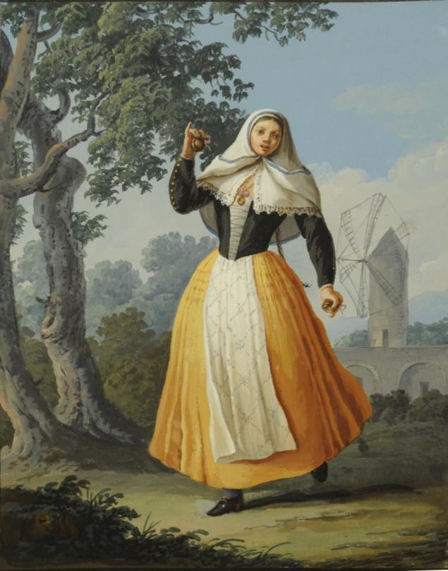 saverio xavier Della Gatta, femme aux castagnettes de Minorque, gouache 1797 etude rouillac