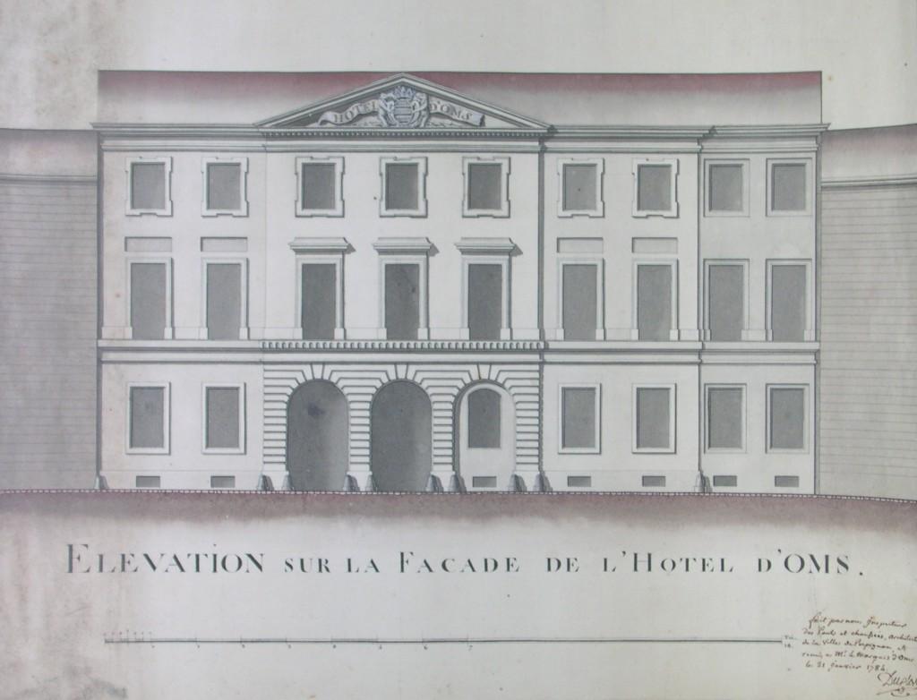 Projet de Façade pour l'hotel d'Oms, Perpignan