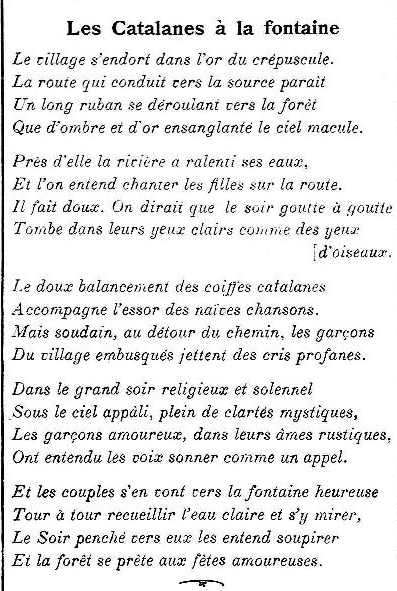 Les Catalanes à La Fontaine Poème Dans Le Cri Catalan 1910