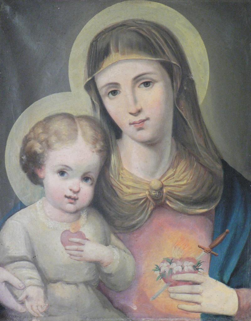 Josep Oromi, Vierge à l'enfant, huile sur toile provenant du couvent de la Trappe d'Espira de l'Agly.